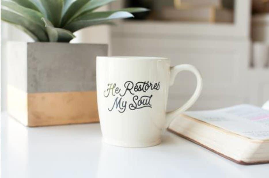 He Restores My Soul Mug healthylivingmom.com